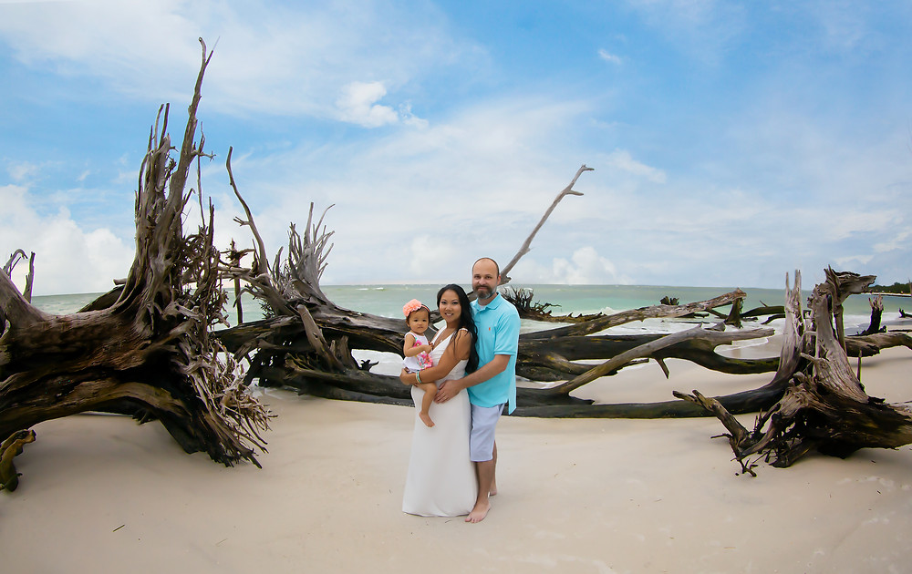Tampa Maternity Photographer at driftwood beach for a maternity photo session with a beautiful sunset and a beautiful family!