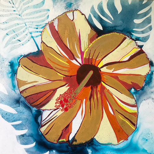 Yellow Hibiscus with Blue tropical foliage