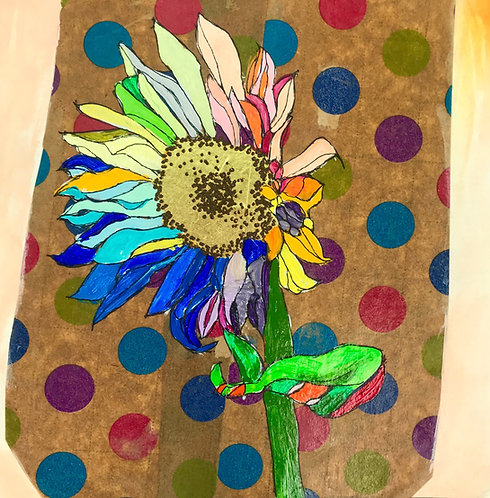 Rainbow Sunflower on Polka Dot Wrapping Paper