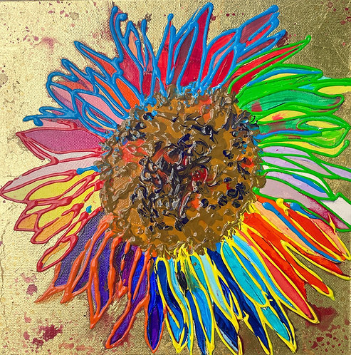 Rainbow SUnFlower, BROWN center, GOLD LEAF background