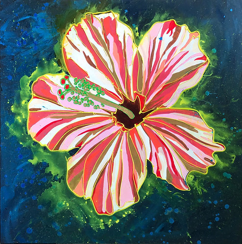 Pink Hibiscus with Neon Halo