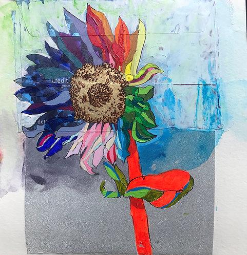 Neon Sunflower on Silver Glitter Card