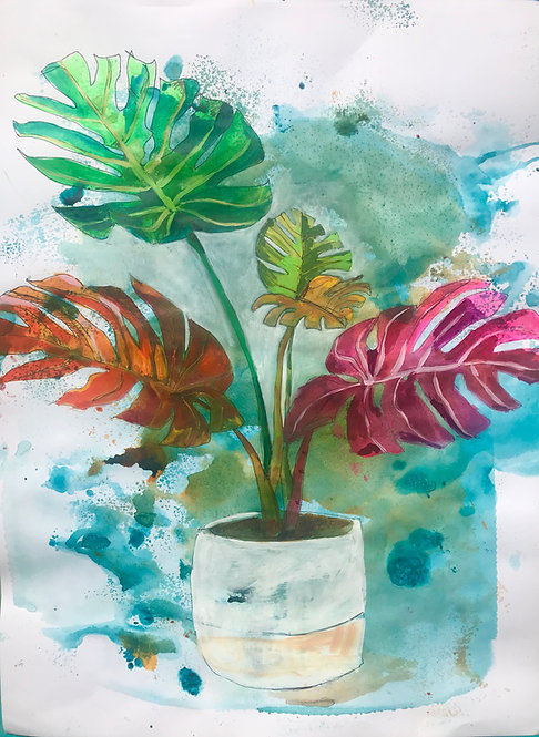 Tropical Monstera, Painted