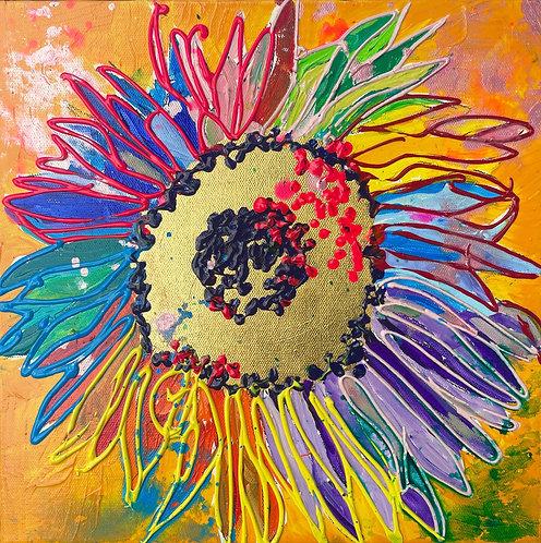 Rainbow SUnFlower, NAVY center, MARIGOLD background