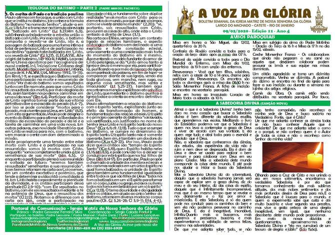 A Voz da Glória  edição 11 Ano 04 - Fevereiro de 2020