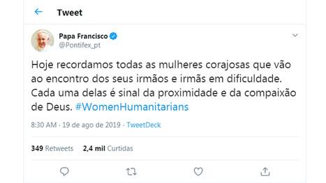 """No twitter, Papa enaltece """"mulheres corajosas"""" que prestam assistência humanitária"""