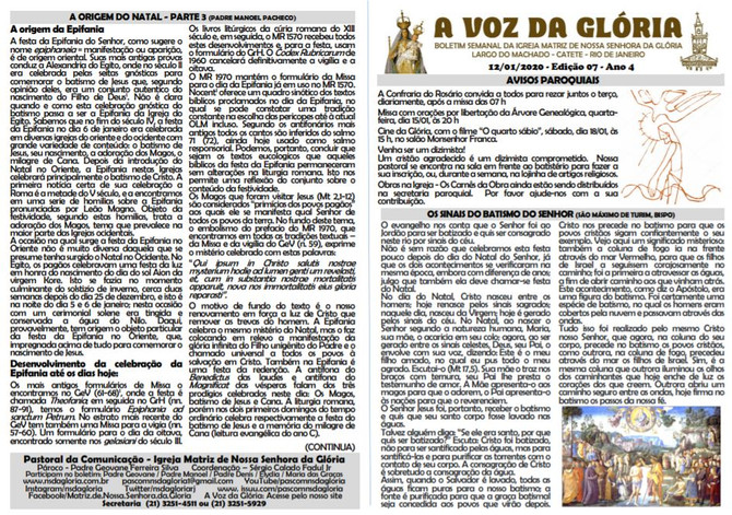 A Voz da Glória  edição 07 Ano 04 - Janeiro de 2020