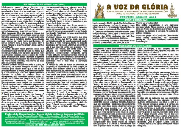 A Voz da Glória  edição 08 Ano 04 - Janeiro de 2020