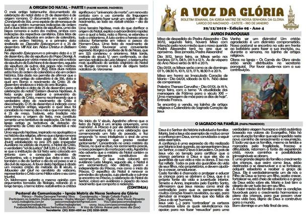 A Voz da Glória  edição 05 Ano 04 - Janeiro de 2020