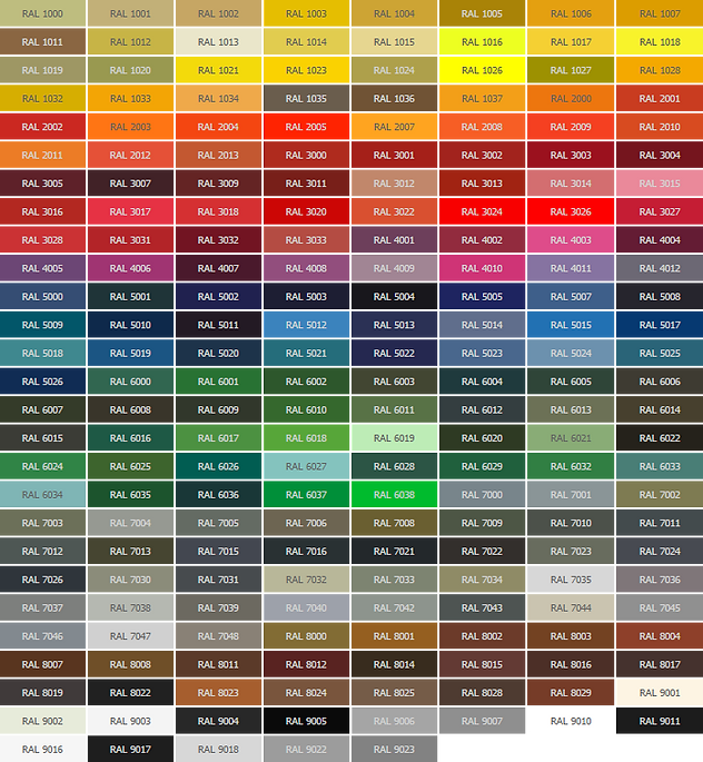 Bifold Direct - RAL colour chart