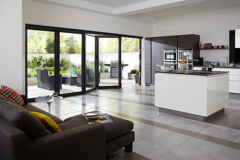 Bifold doors on display in a kitchen