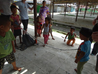 Children skipping with woven plastic rope