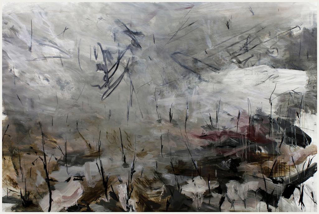 b-field | Mischtechnik auf Papier / mixed media on paper | 150 x 225 cm | 2010
