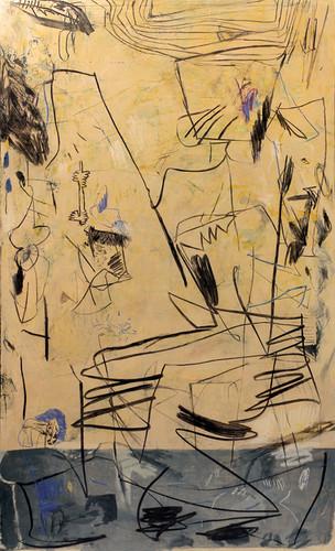ohne Titel (yellow) | Mischtechnik auf Leinwand / mixed media on canvas | 230 x 140 cm | 2017
