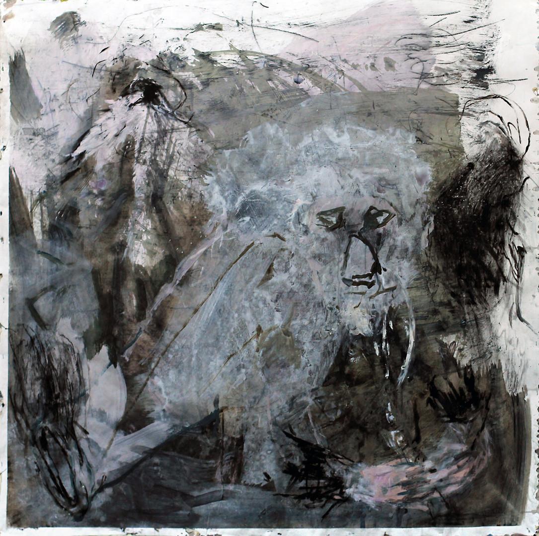 fin dung fire | Mischtechnik auf Papier / mixed media on paper | 150 x 150 cm | 2014