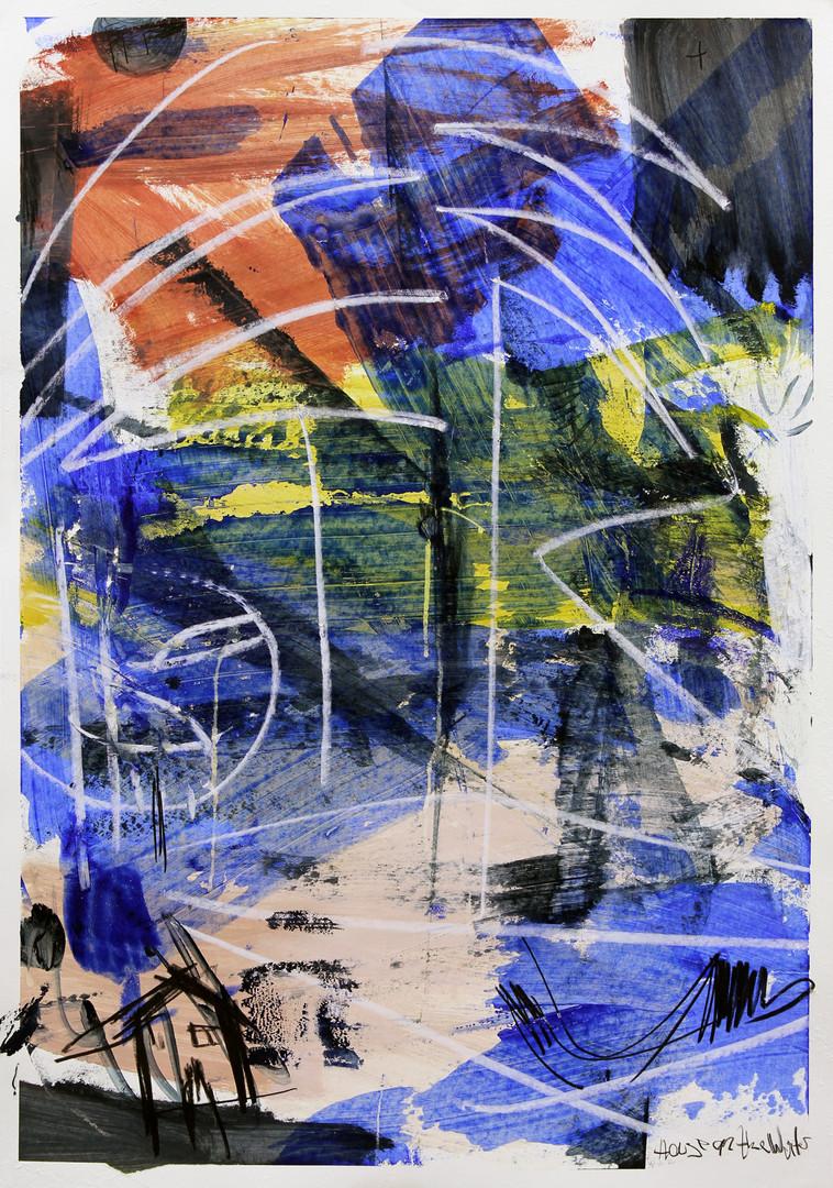ohne Titel / untitled / Mixed media on Paper / 100 x 70 cm / 2019