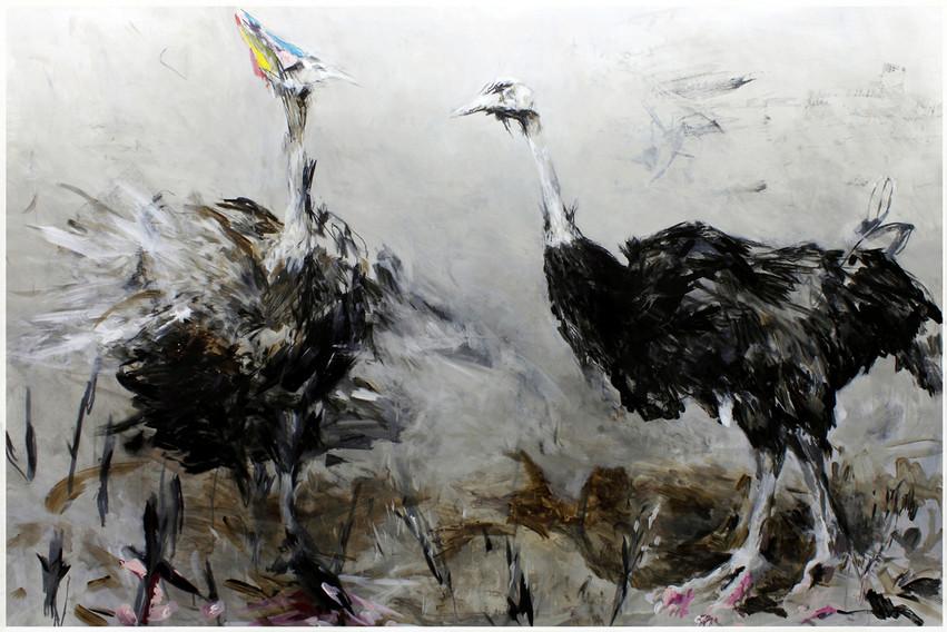 Credit Strauss | Mischtechnik auf Papier / mixed media on paper | 150 x 225 cm | 2010