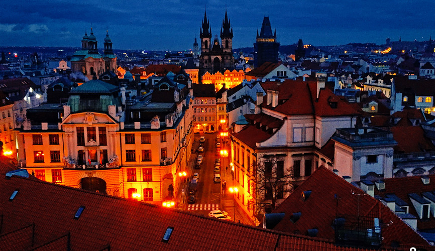 Панорама ночной Праги