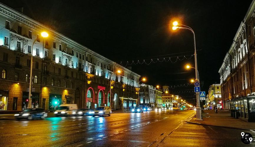 Проспект Независимости ночью, Минск