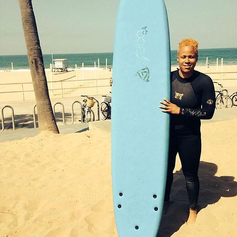 First surfing course in Manhattan Beach,