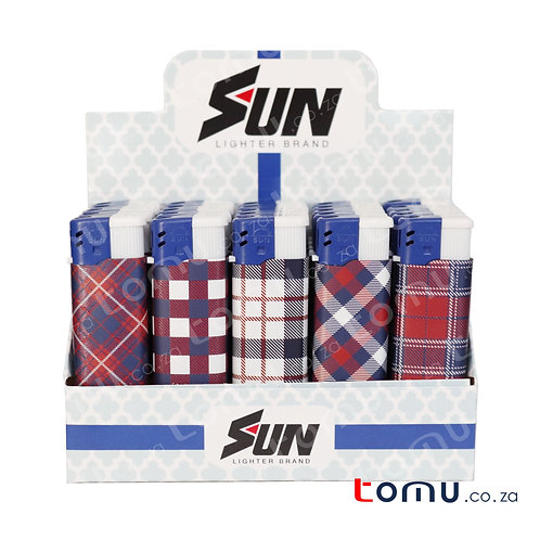 Sun Lighter - 25 per pack Tartan Pattern - E033LF