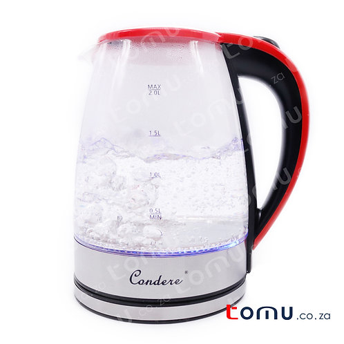 Condere -  2.0L Electric Glass Kettle (Red) - LX-3002