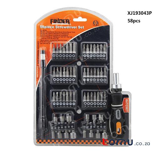 FINDER – 58pcs Ratchet Screwdrivers and Bits Set – 193043