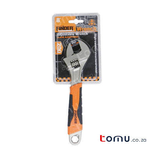 """FINDER - Adjustable Wrench - 200mm/8"""" - (Rubber Handle Cover) - 192008"""