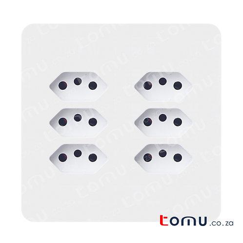 CHINT – 6-Way Euro Socket 16A 250V 4X4 – 255793