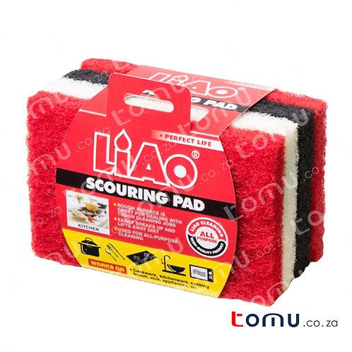 LiAo - Scouring pad + Sponge (15x10x1.5cm) - 4pcs/pack - LAH130036