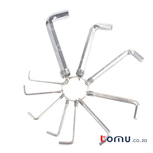 Finder - 10pcs Hex Key Wrench Set (Allen White Zinc Plated) - 193172