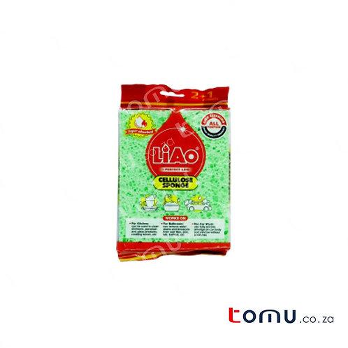 LiAo - Cellulose Sponge (14 x 11 x 1.5cm) - 3pcs/pack - LAG130066