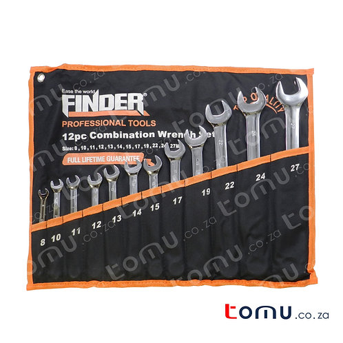 FINDER – 12pcs Carbon Steel Combination Wrench Set (8mm to 27mm) – 192114
