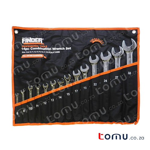 FINDER – 14pcs Carbon Steel Combination Wrench Set (6mm to 32mm) – 192116