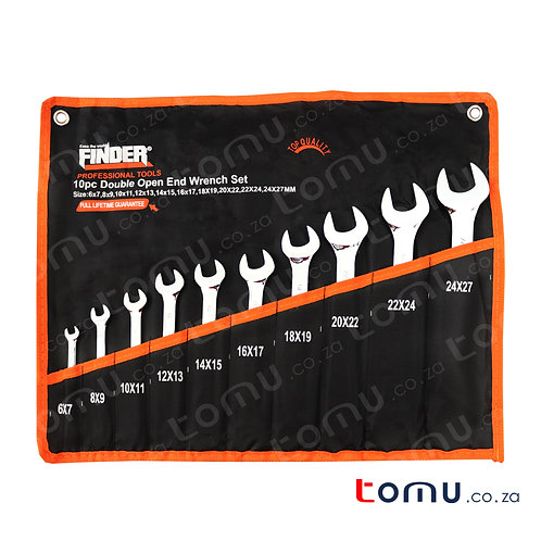 Finder - 10pcs Double Open-End Spanner Set (6x7 to 24x27mm) - 192157