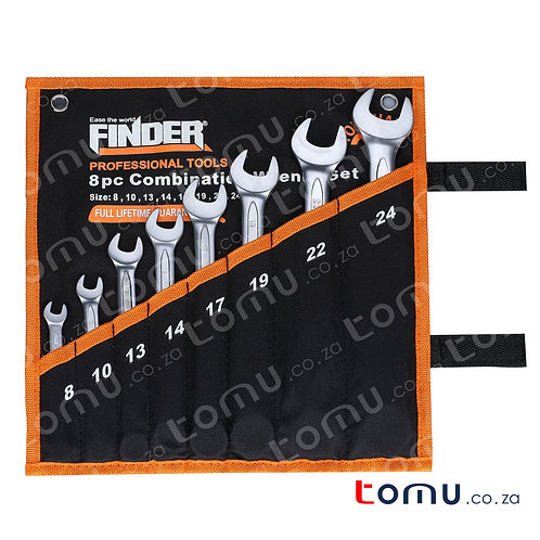 FINDER – 8pcs Carbon Steel Combination Wrench Set (8mm to 24mm) – 192111