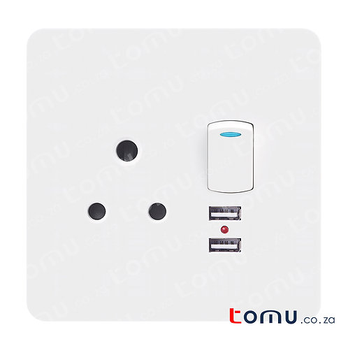 CHINT - Single Switched Socket 16A 250V with 2xUSB 2100mA 5V 4X4 – 255790
