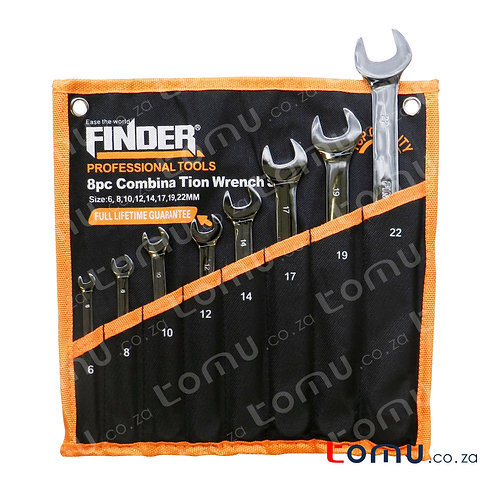 FINDER – 8pcs Carbon Steel Combination Wrench Set (6mm to 22mm) – 192110