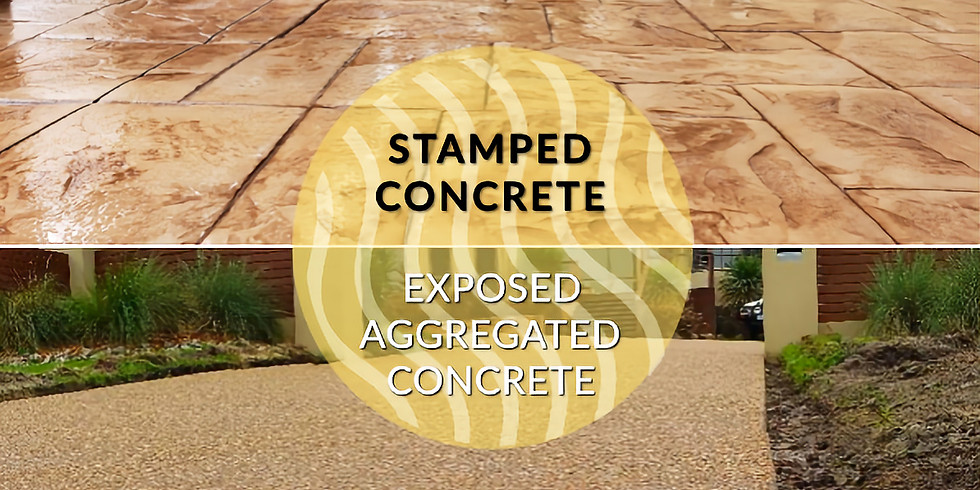 Concrete paving: exposed aggregate and stamped