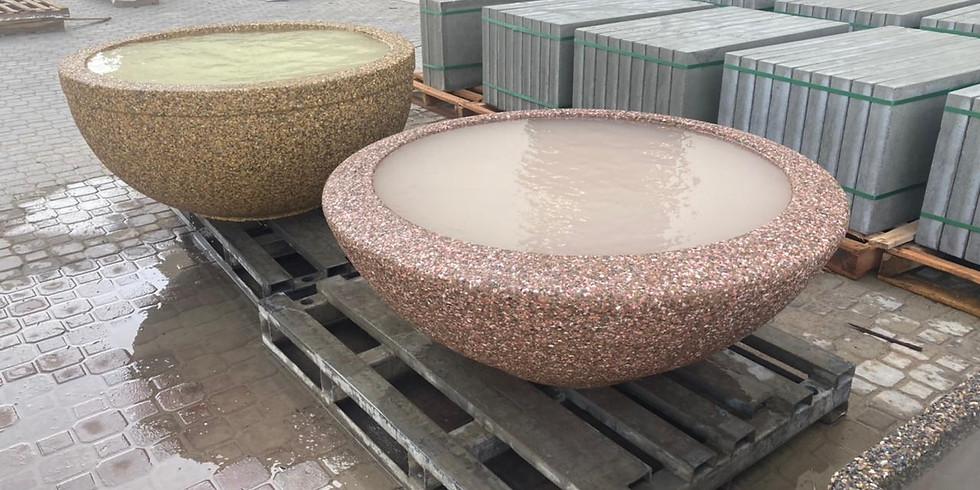 Exposed aggregate concrete: street furniture