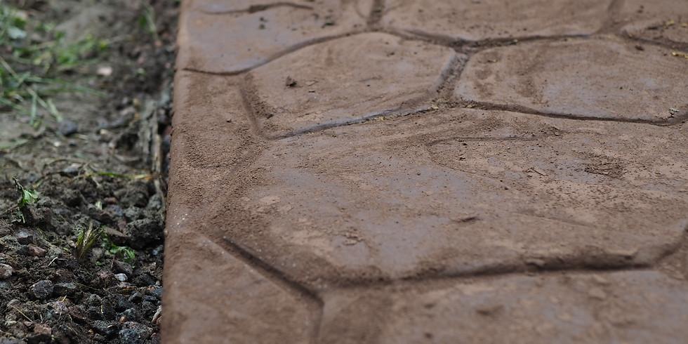 Печатный и мытый бетон: создание въездных зон, лестниц, тротуаров