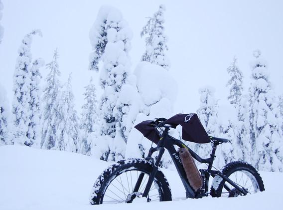 e-Fatbike posing in the snow