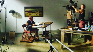 Cinematographer, Clint Byrne lines up a shot in Cinomadic's Brooklyn studio.