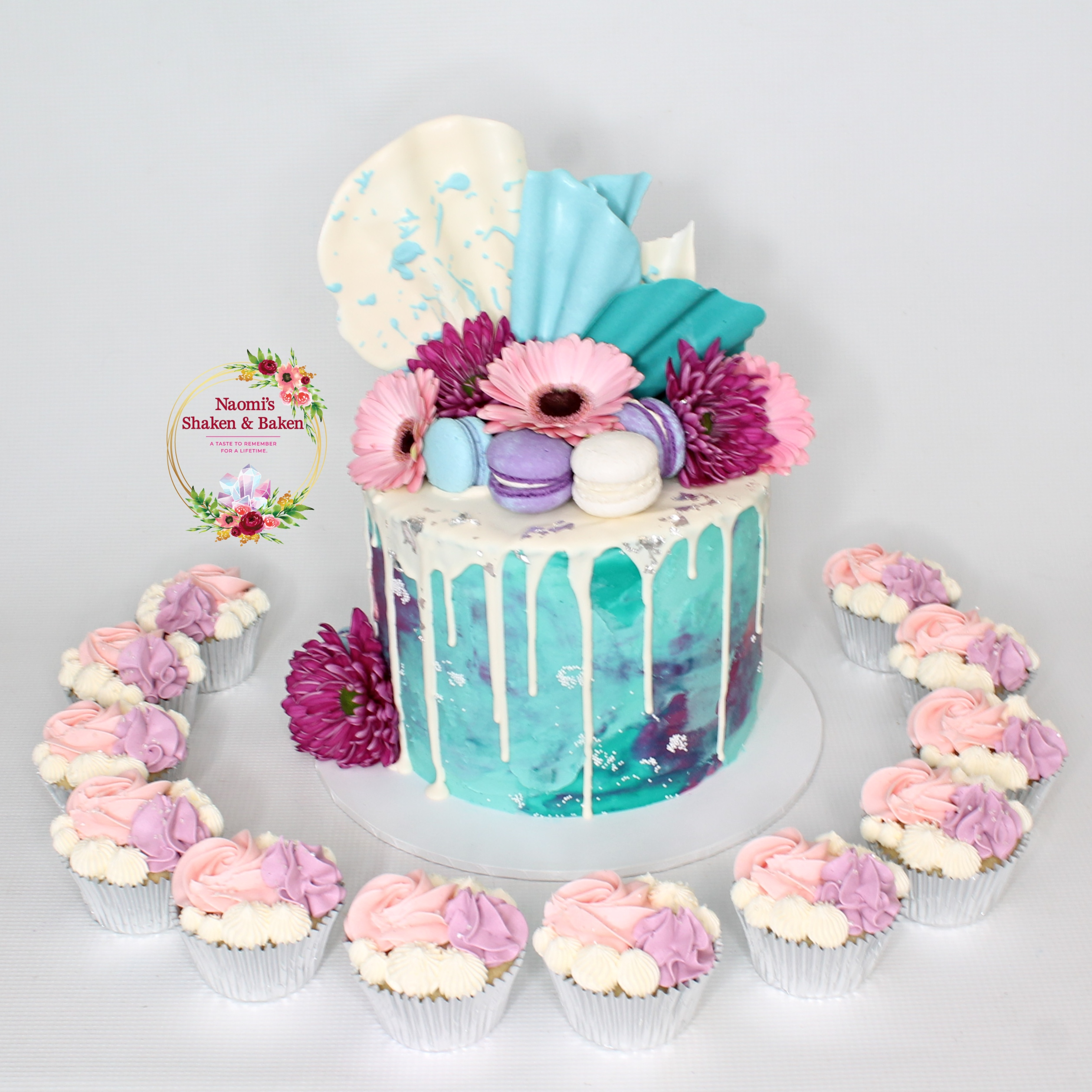 Textured Drip Cake & Cupcakes Birthday Caboolture