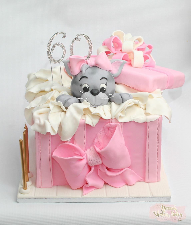 Gift Box Kitten Cake Birthday
