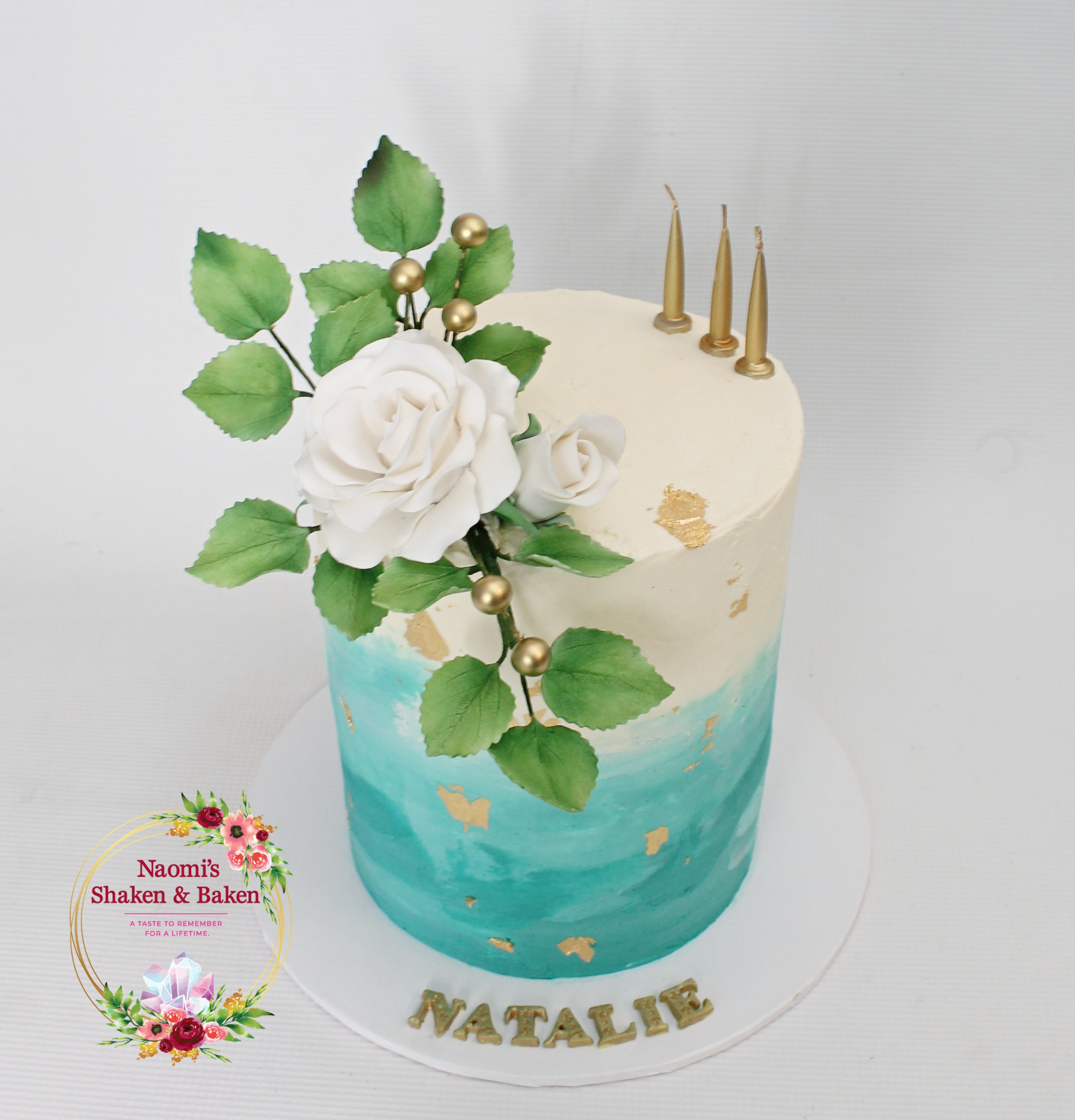 Teal Water Colour Effect Birthday Cake
