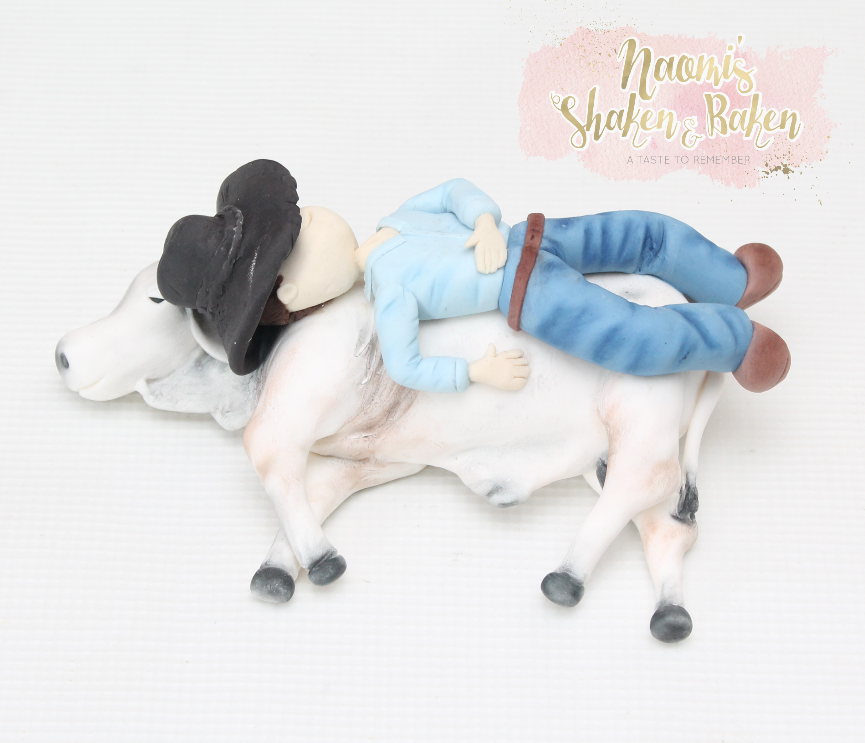 Cowboy & his Bull cake topper