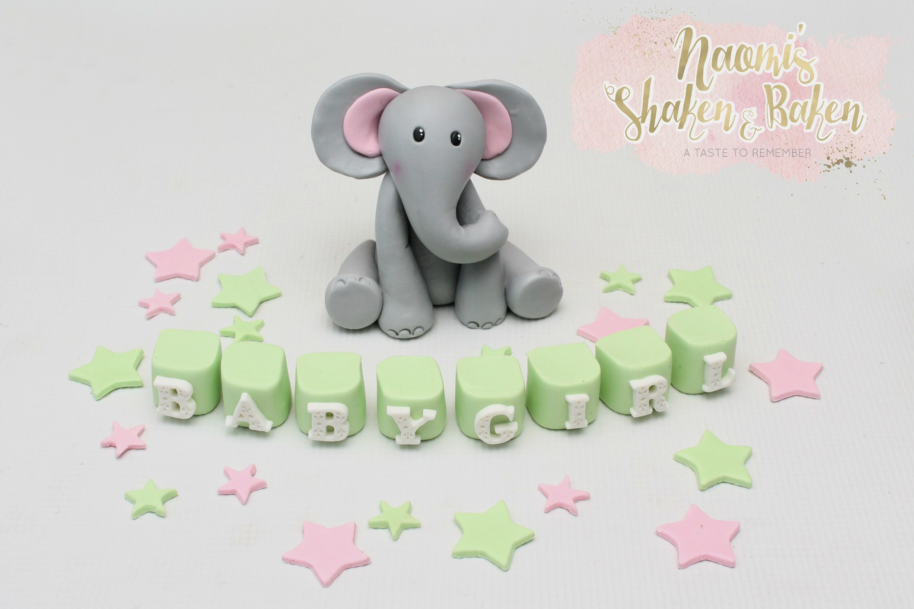 Elephant cake topper set