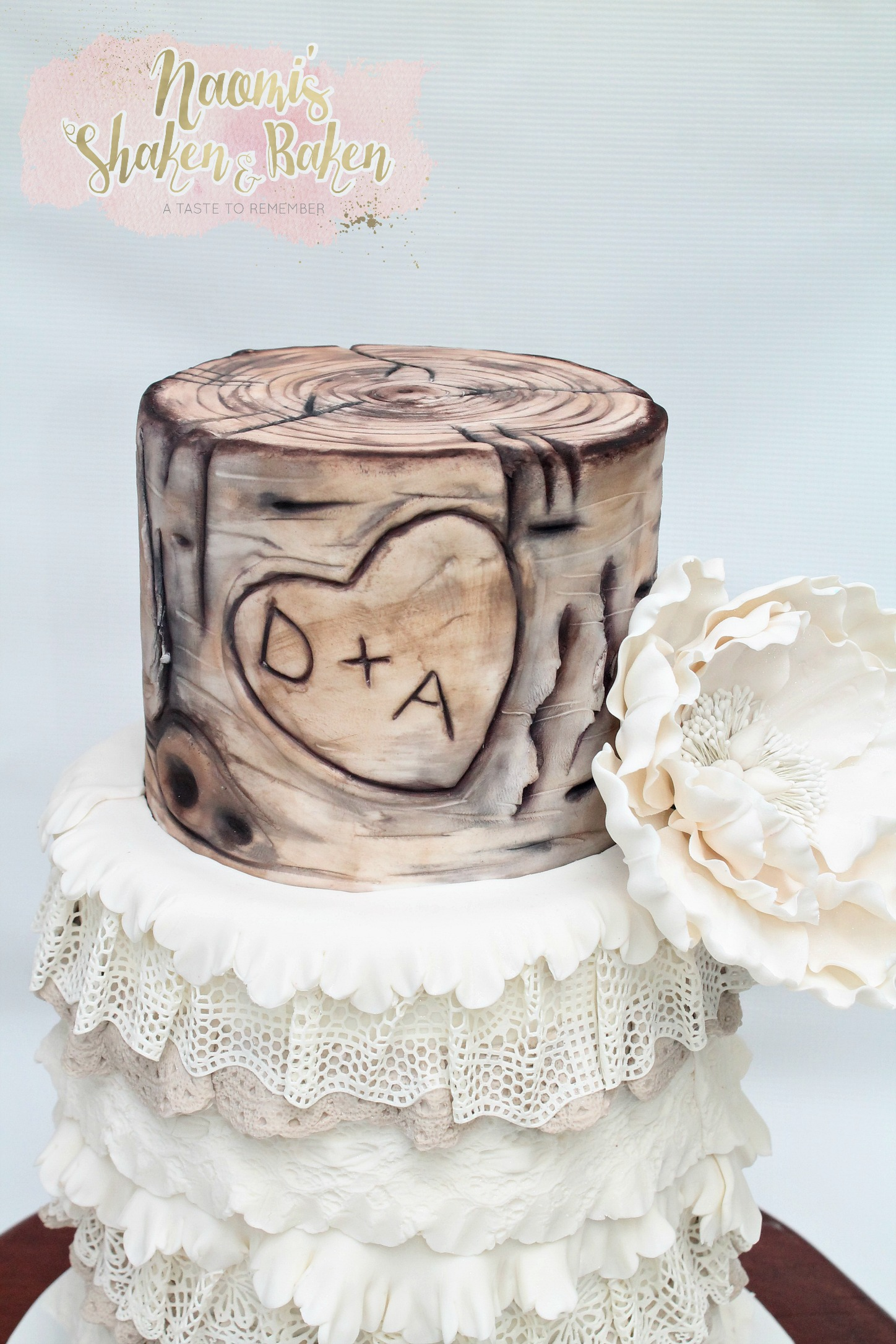 Rustic wood lace wedding cake