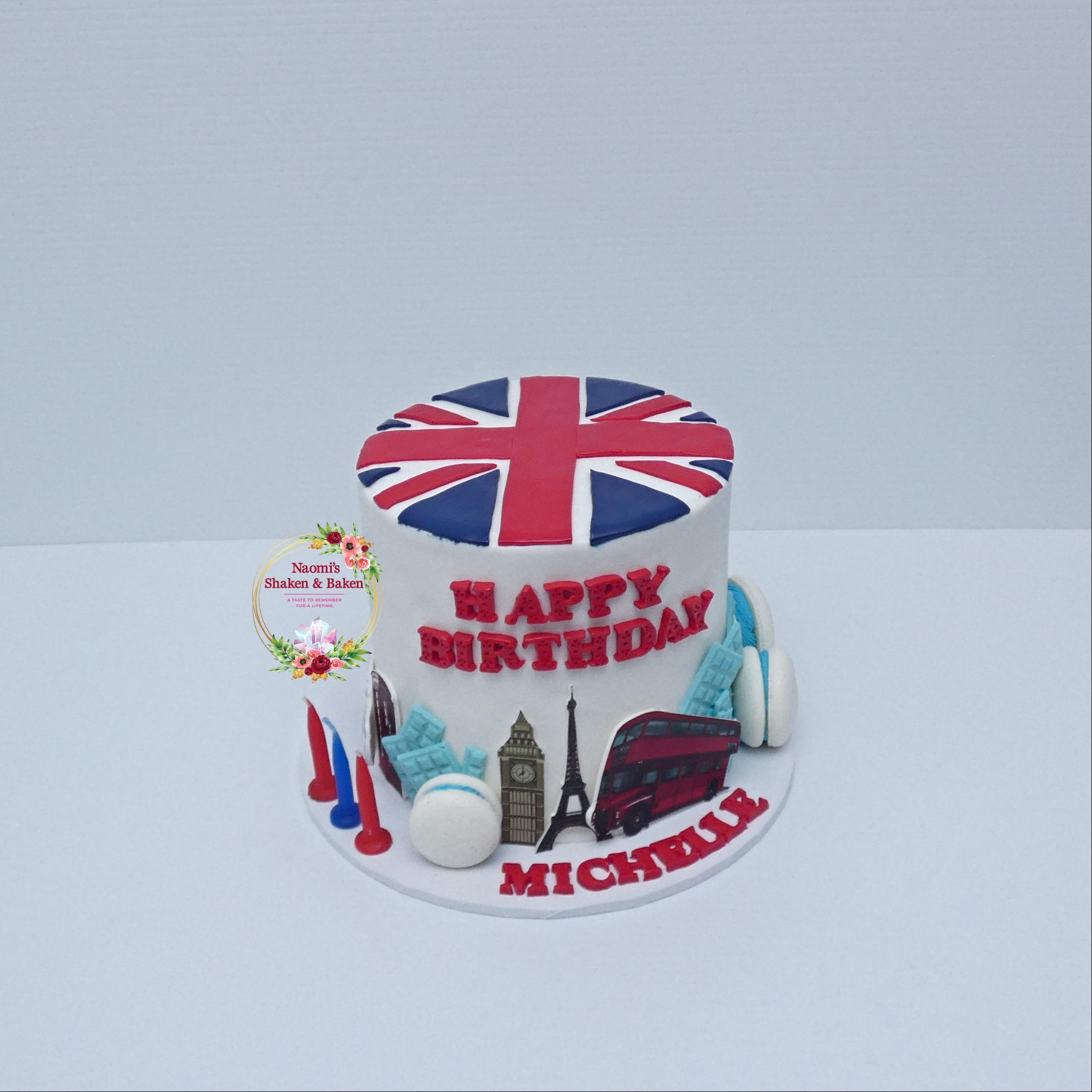 UK themed birthday cake